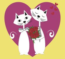 Cute Whimsy Romantic Valentines Heart Cats Kids Tee