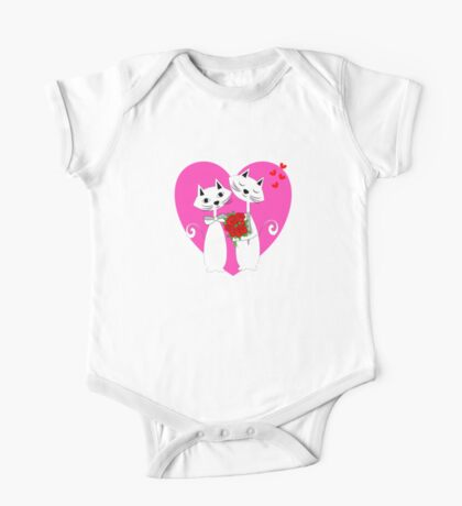 Cute Whimsy Romantic Valentines Heart Cats One Piece - Short Sleeve
