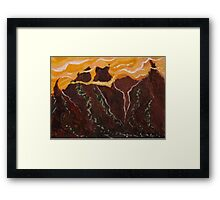 Mountains and Yellow Sky Framed Print