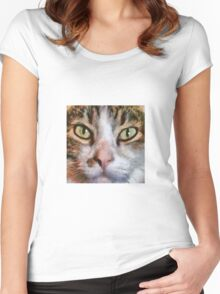 Long Haired Tabby Cat Close Up Portrait Women's Fitted Scoop T-Shirt