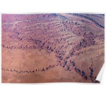 Red Earth - Flying Over Meandering Canyons, Riverbeds and Mesas Poster