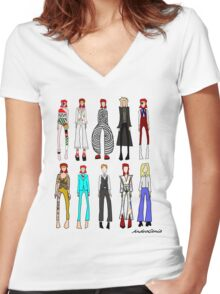 The stages of Bowie Women's Fitted V-Neck T-Shirt