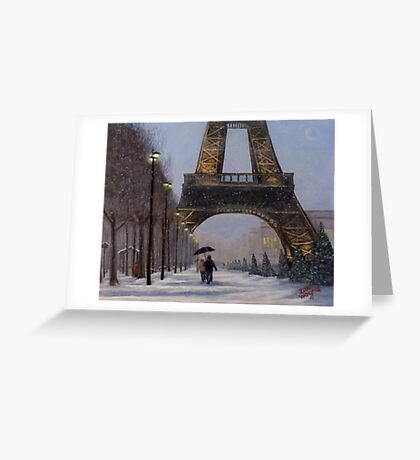Eiffel tower in the snow Greeting Card