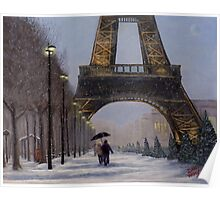 Eiffel tower in the snow Poster