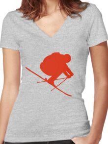 Skier  Women's Fitted V-Neck T-Shirt