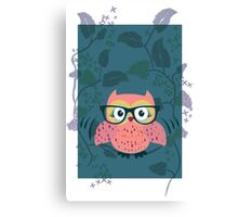 Cute Wild Life Hipster owl. Canvas Print