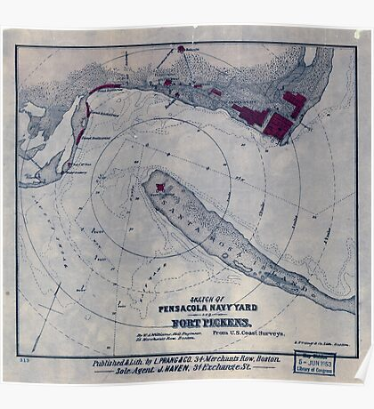 Civil War Maps 1619 Sketch of Pensacola Navy Yard and Fort Pickens from US coast surveys Poster