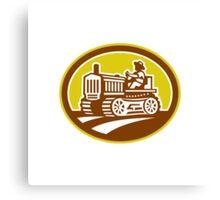 Farmer Drive Vintage Tractor Oval Retro Canvas Print