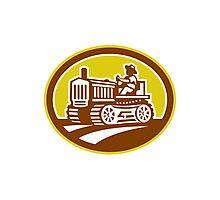 Farmer Drive Vintage Tractor Oval Retro Photographic Print