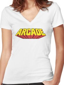 Arcade Yellow Women's Fitted V-Neck T-Shirt