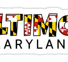 Baltimore Maryland flag word art Sticker