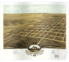Bird's eye view Map of Young America Warren County Illinois (1869) Poster