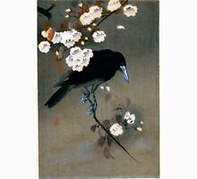 Vintage Japanese Crow and Blossom Woodblock Print Unisex T-Shirt