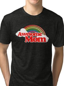 Awesome Mom retro rainbow Tri-blend T-Shirt