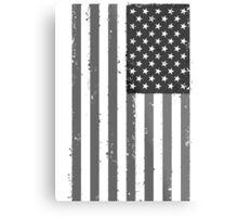 American Flag - Black and White Metal Print