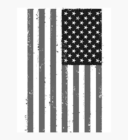 American Flag - Black and White Photographic Print