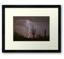 Giant Saguaro Cactus  Desert Lightning Strike Framed Print