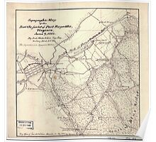 Civil War Maps 1832 Topographic map of the battle-field of Port Republic Virginia June 9 1862 Poster