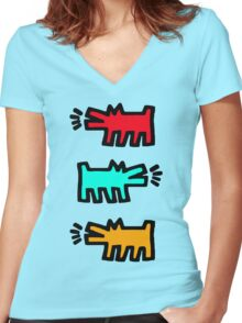 HARING Women's Fitted V-Neck T-Shirt