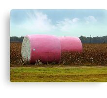 The Breast Cancer Awareness Pink Cotton Bales Canvas Print