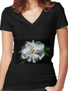 Pure white rose Women's Fitted V-Neck T-Shirt