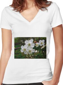 cherry  tree blossoms Women's Fitted V-Neck T-Shirt
