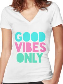 Good Vibes Only Pastel Women's Fitted V-Neck T-Shirt