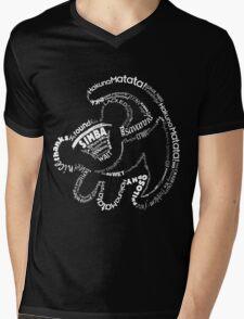 Simba Typo B&W Mens V-Neck T-Shirt