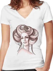 Portrait of Woman #6 Women's Fitted V-Neck T-Shirt