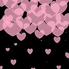 Pink hearts on black by tdhanshew