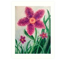 Blurred Flowers in Grass Art Print