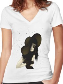 Portrait of Woman #9 Women's Fitted V-Neck T-Shirt