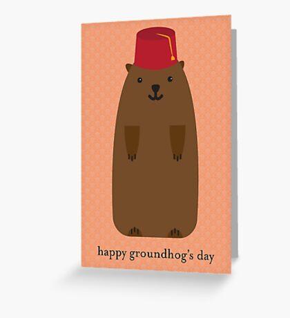 Happy Groundhog's Day » Orange Wallpaper Edition Greeting Card