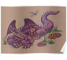 Napping Dragon (with teddy bear) Poster