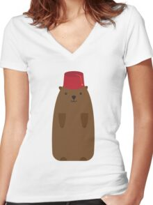 The Big Groundhog in a Fez Women's Fitted V-Neck T-Shirt