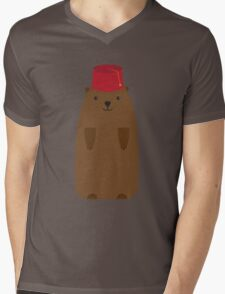 The Big Groundhog in a Fez Mens V-Neck T-Shirt