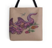 Napping Dragon (with teddy bear) Tote Bag