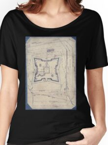 Civil War Maps 1994 Map of Fort Sanders Knoxville Tennessee showing the Confederate assault of Nov 29 1863 Women's Relaxed Fit T-Shirt