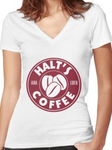 A Cup of Coffee and No One Gets Hurt Women's Fitted V-Neck T-Shirt