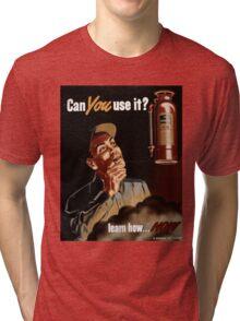 Vintage World War II Fire Extinguisher Safety Tri-blend T-Shirt