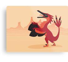 Vainglorious Velociraptor Metal Print