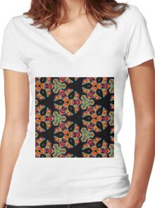 Psychedelic Snowflake Women's Fitted V-Neck T-Shirt
