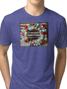 Merry Christmas Ornament Wreath Tri-blend T-Shirt