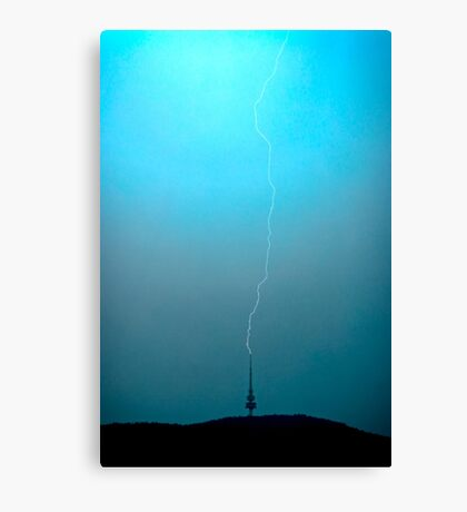 Lightning strikes Telstra Tower in Canberra Canvas Print