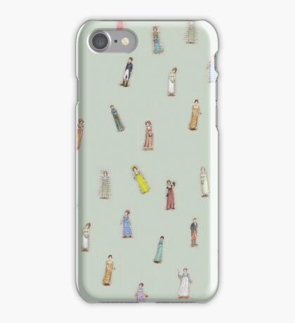 Jane Austen characters - green iPhone Case/Skin