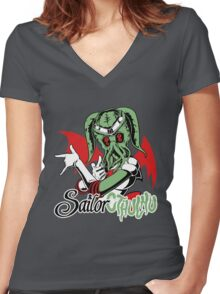 Sailor Cthulu Women's Fitted V-Neck T-Shirt