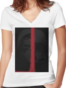 Star wars Dath Vader and Kylo Ren Women's Fitted V-Neck T-Shirt