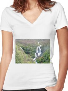 Waipunga Falls, New Zealand Women's Fitted V-Neck T-Shirt