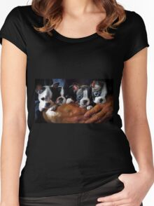 Safe In The Arms Of Love - Puppy Art Women's Fitted Scoop T-Shirt