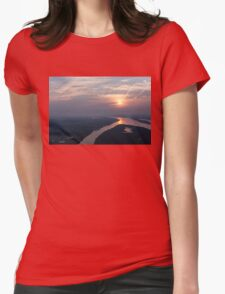 Foggy Pink Sunrise Over the Ottawa River Womens Fitted T-Shirt